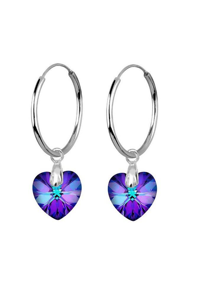 Elli Ohrringe »Herz Creolen Swarovski® Kristalle Liebe 925 Silber« in Violett