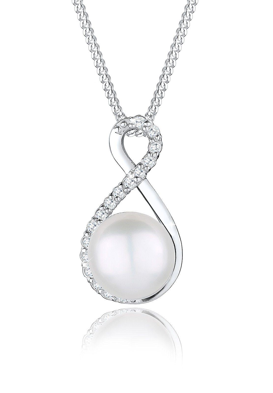 Perlu Halskette »Infinity Süßwasserzuchtperle Zirkonia 925 Silber«