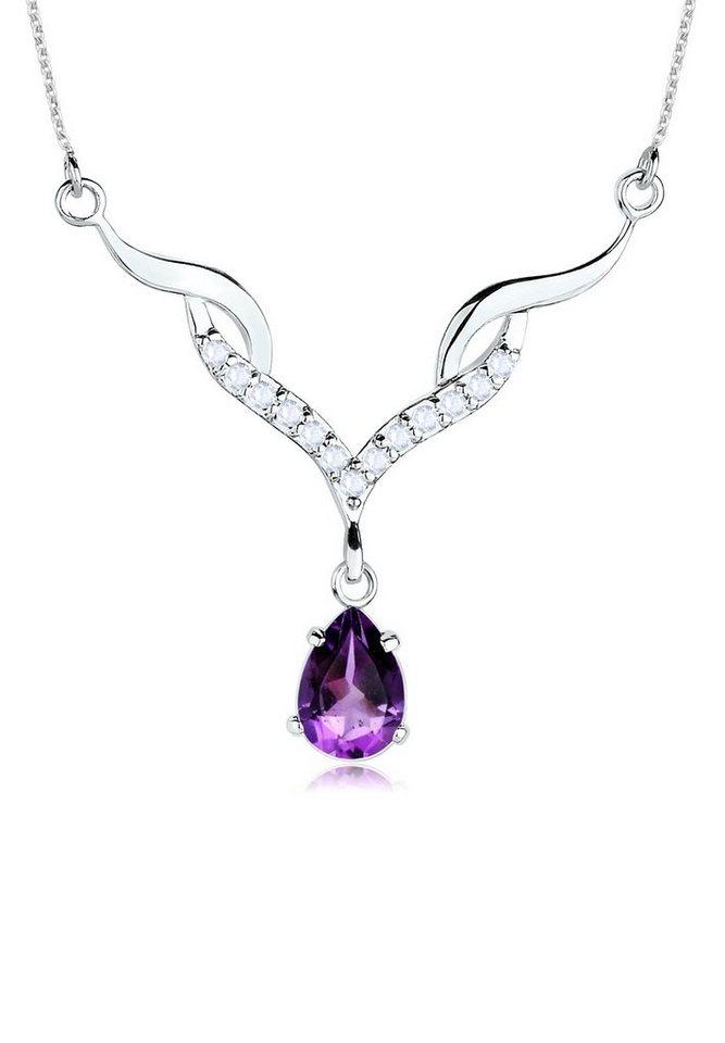 Elli Halskette »925 Sterling Silber Amethyst Topas« in Violett