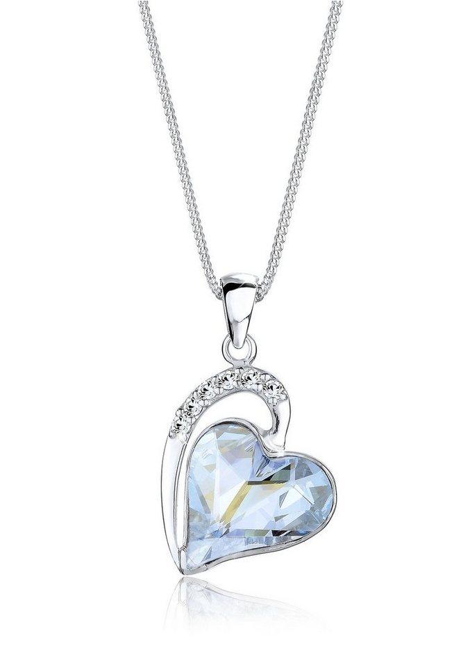 Elli Halskette »Love Amor Swarovski® Kristalle 925 Sterling Silber« in Hellblau