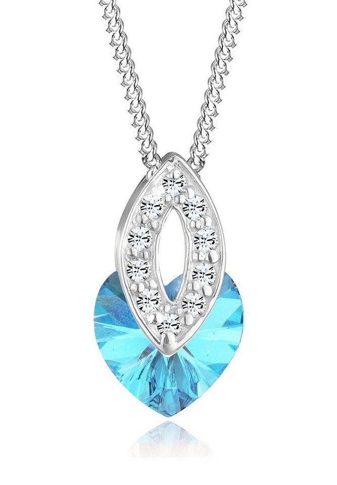 Elli Halskette »Herz Oval Swarovski® Kristalle 925 Sterling Silber« in Hellblau