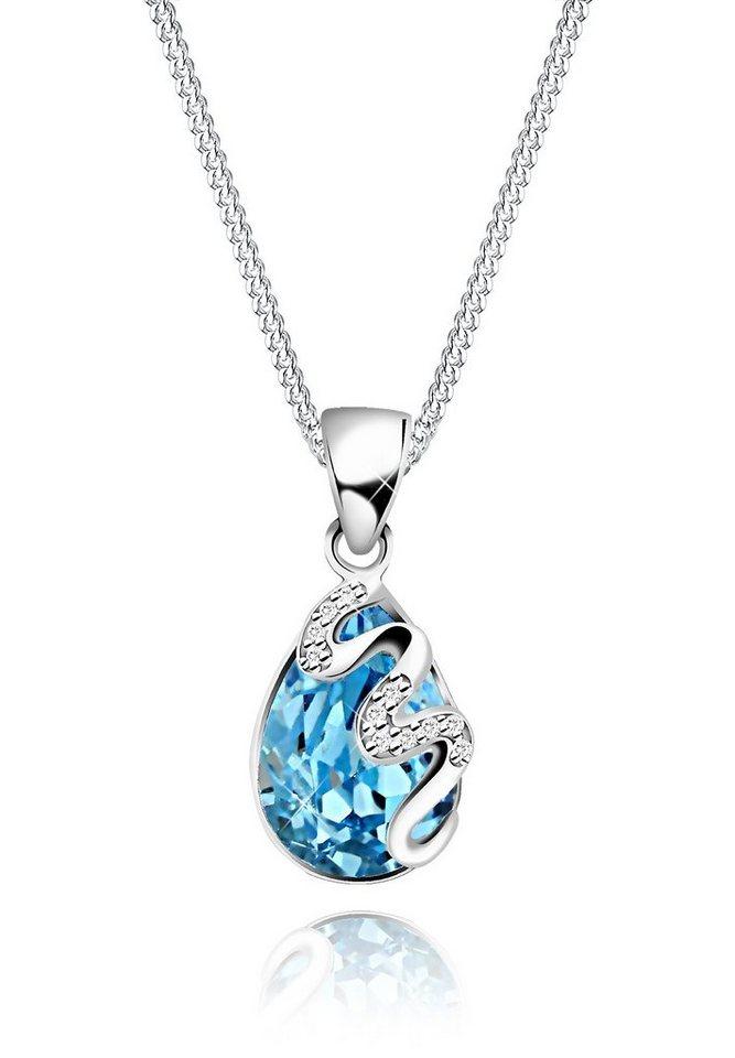 Elli Halskette »Tropfen Swarovski Kristalle Zirkonia 925 Silber« in Hellblau
