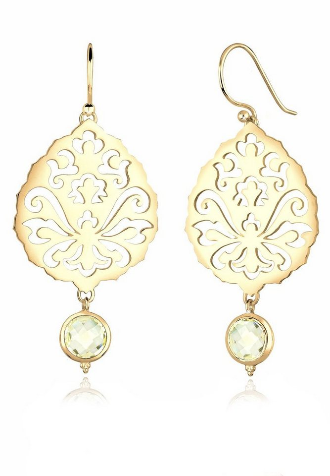 Elli Ohrringe »Ornament Blume Floral Quarz 925 Silber« in Gelb