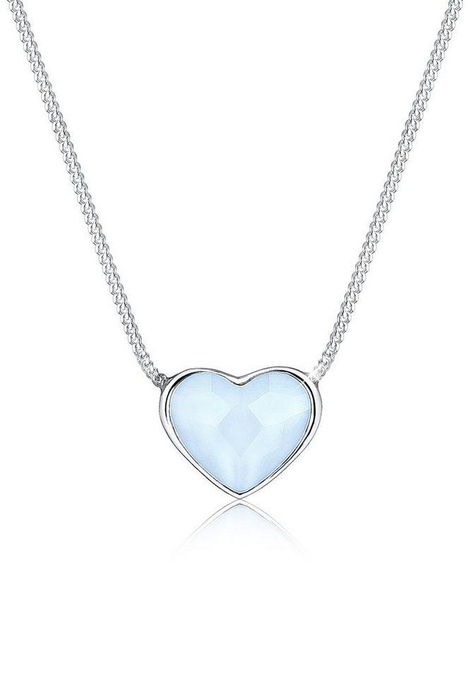 Elli Halskette »Herz Swarovski® Kristalle 925 Sterling Silber« in Hellblau