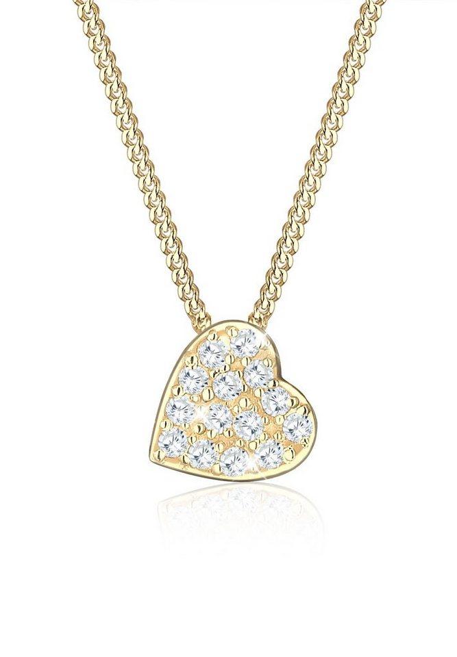 Elli Halskette »585 Gelbgold Zirkonia Herz« in Gold