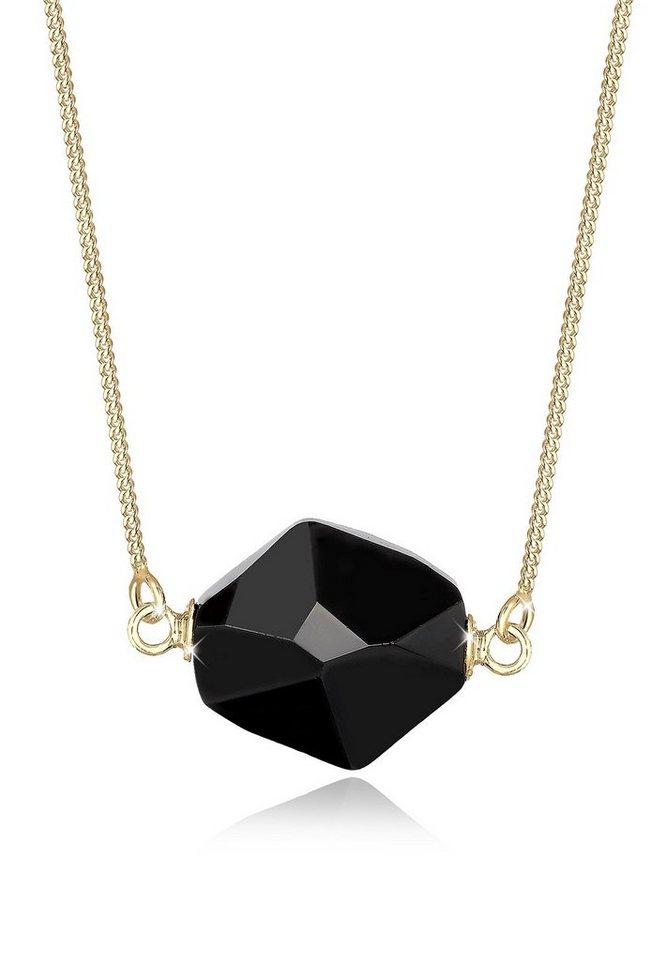 Elli Halskette »Swarovski Kristalle 925 Sterling Silber vergoldet« in Schwarz