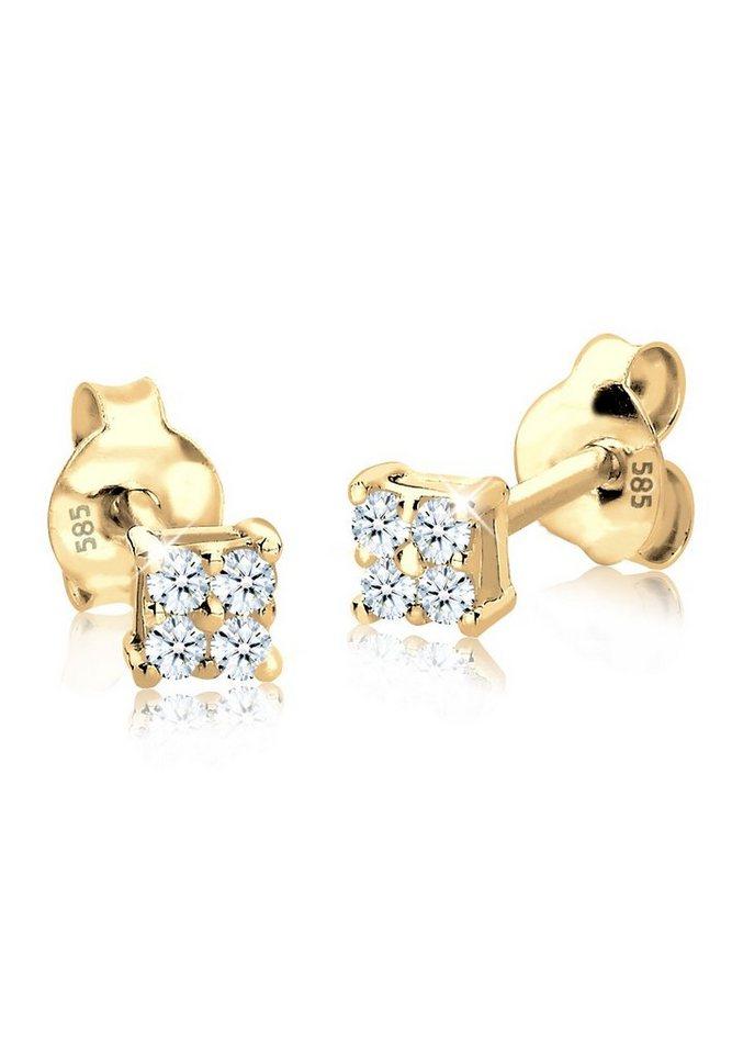 Diamore Ohrringe »Diamant Quadrat 585 Gelbgold« in Weiß