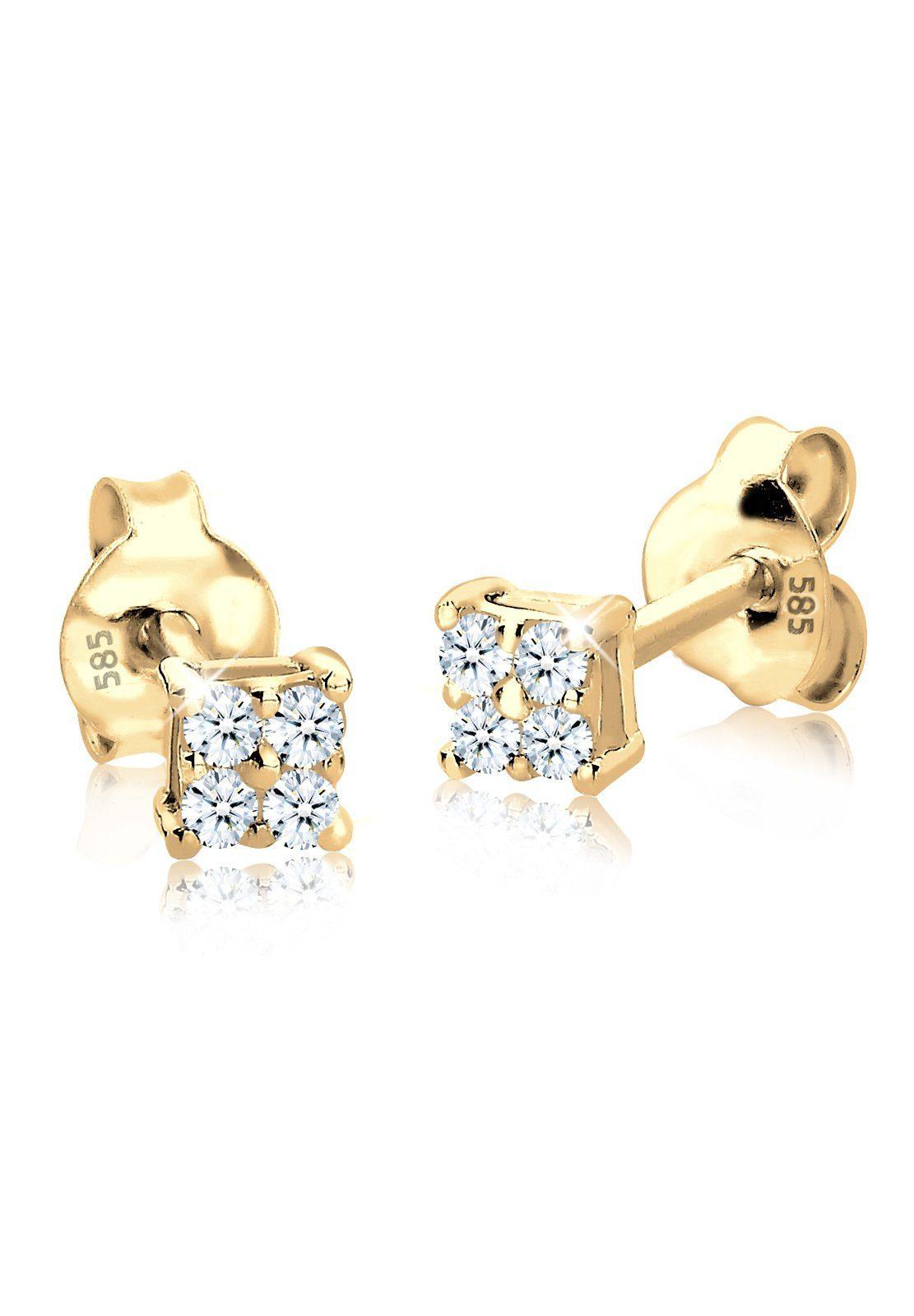 Diamore Ohrringe »Diamant Quadrat 585 Gelbgold«
