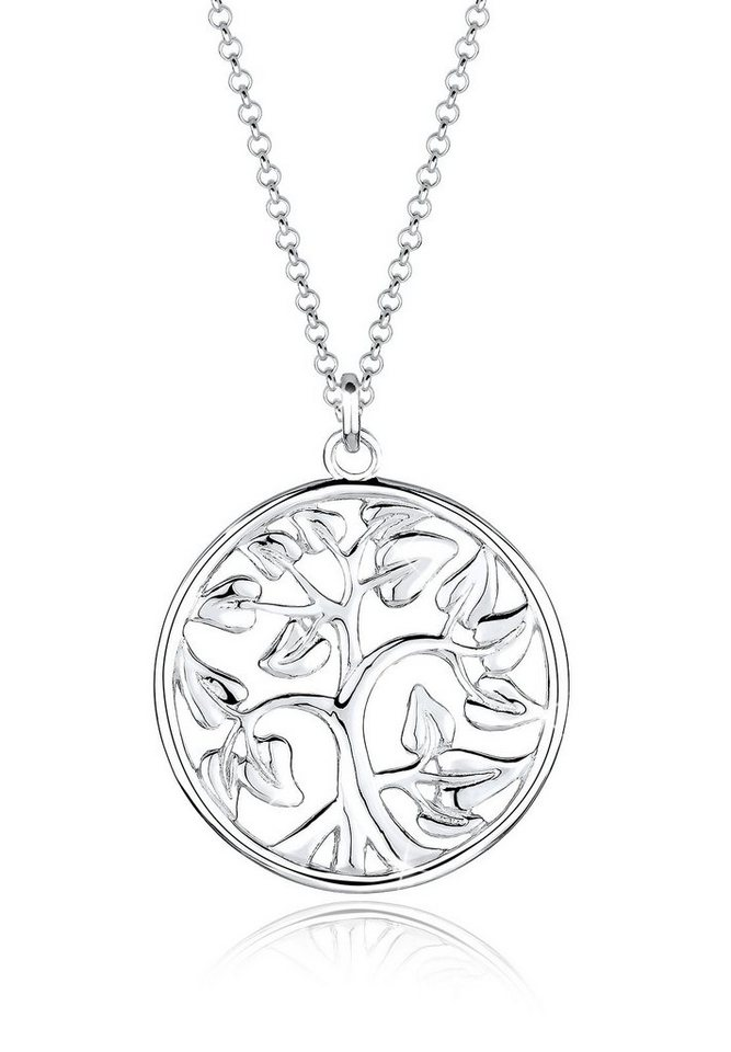 Elli Halskette »Münze Tree of Life 925 Sterling Silber« in Silber