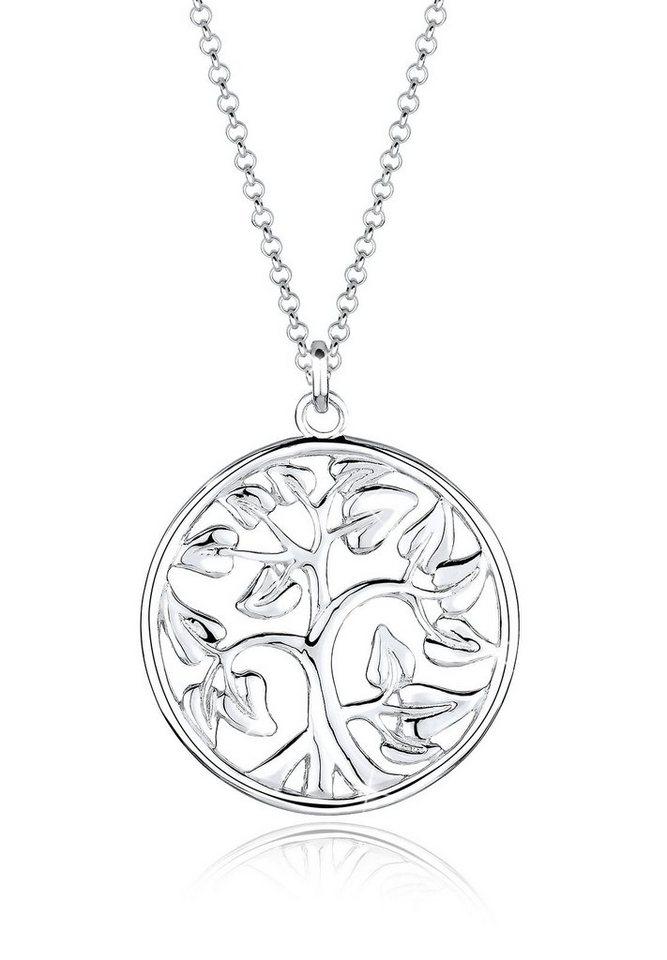 Elli Halskette »Münze Tree of Life 925 Sterling Silber« in Silber