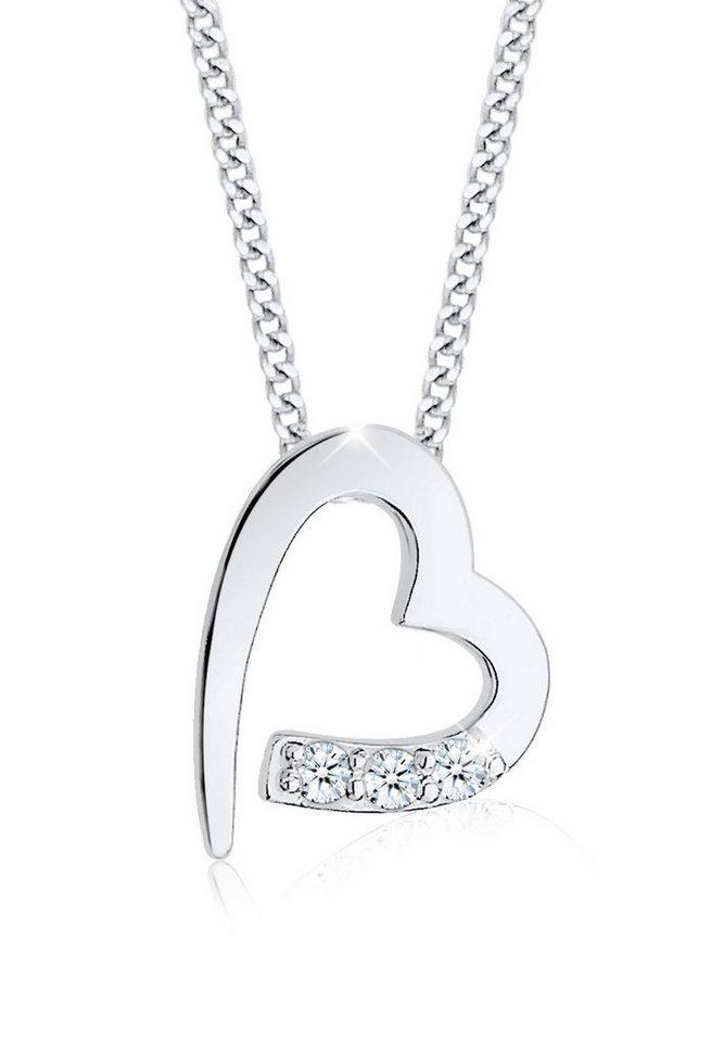 Diamore Halskette »Herz Zuneigung Diamant 925 Sterling Silber« in Weiß