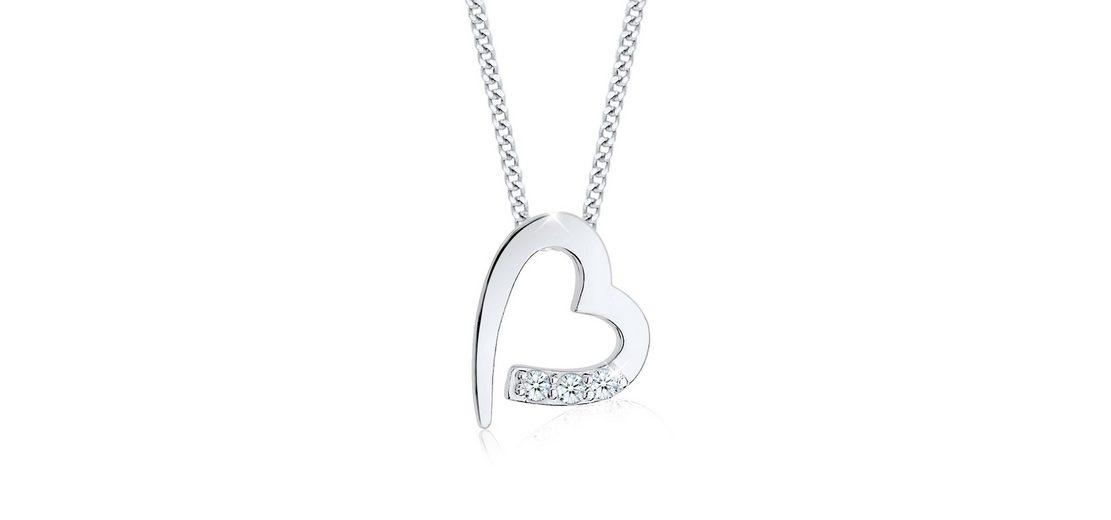 Diamore Halskette »Herz Zuneigung Diamant 925 Sterling Silber«