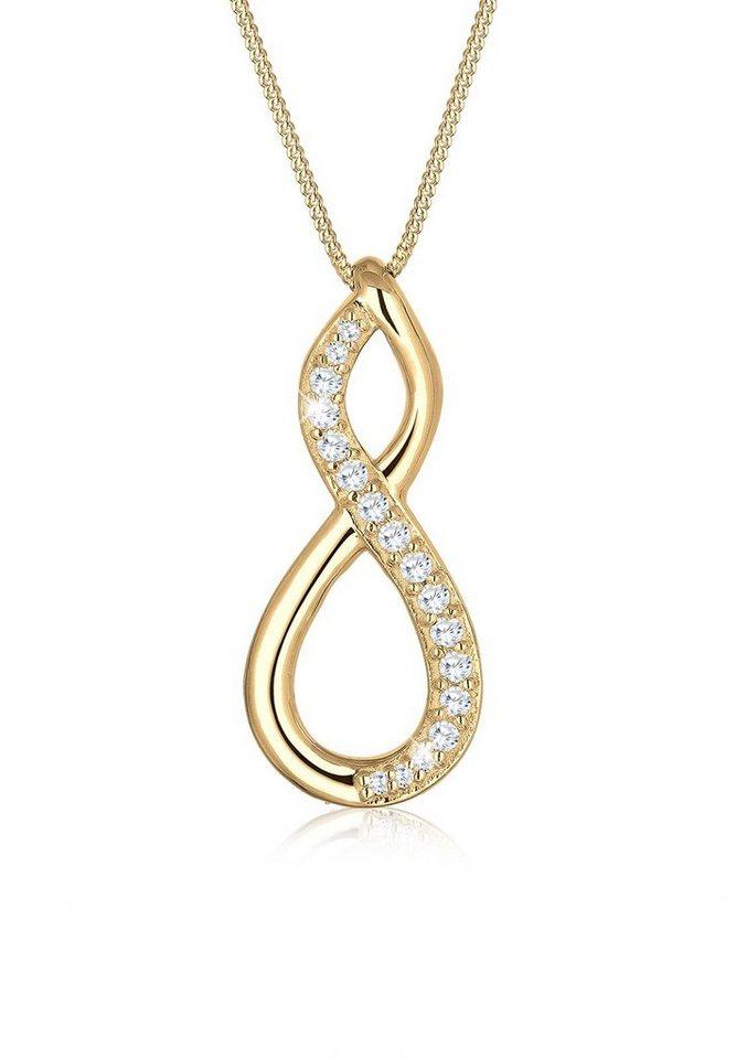 Elli Halskette »Infinity Verschlungen Zirkonia 925 Sterling Silber« in Gold