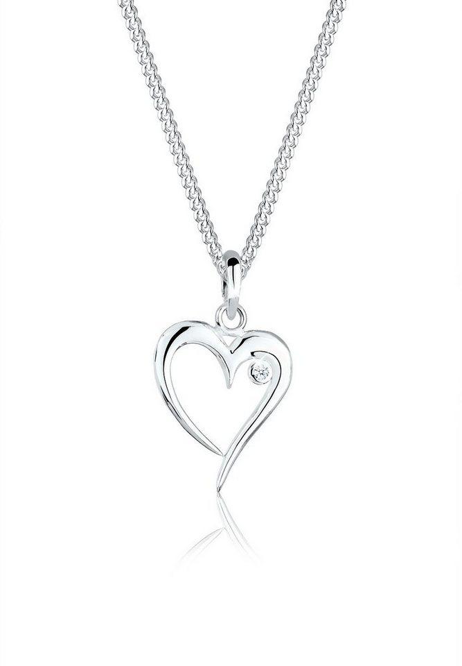 Elli Halskette »Herz Diamant (0.03ct) 925 Sterling Silber« in Weiß