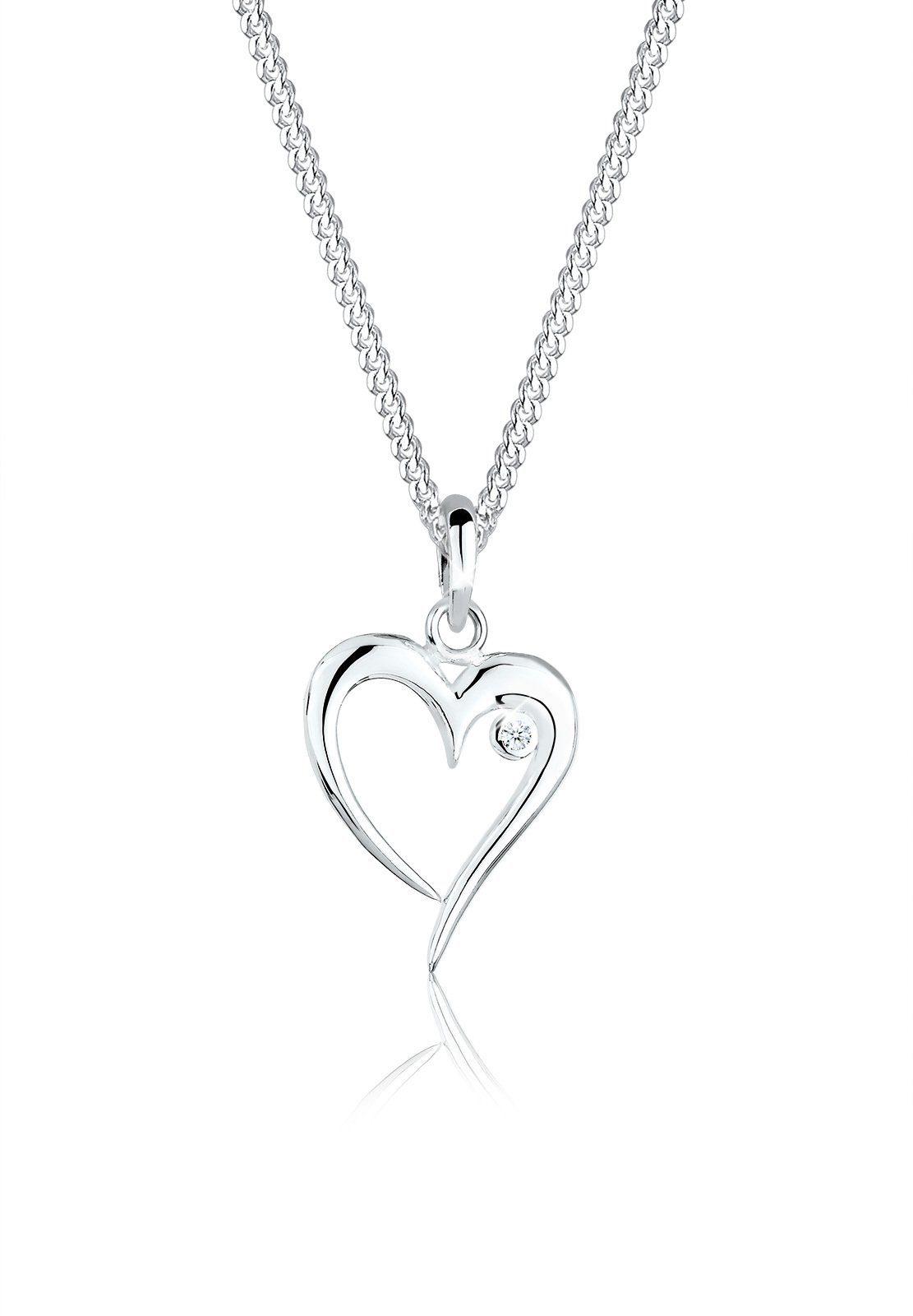 Elli Halskette »Herz Diamant (0.03ct) 925 Sterling Silber«