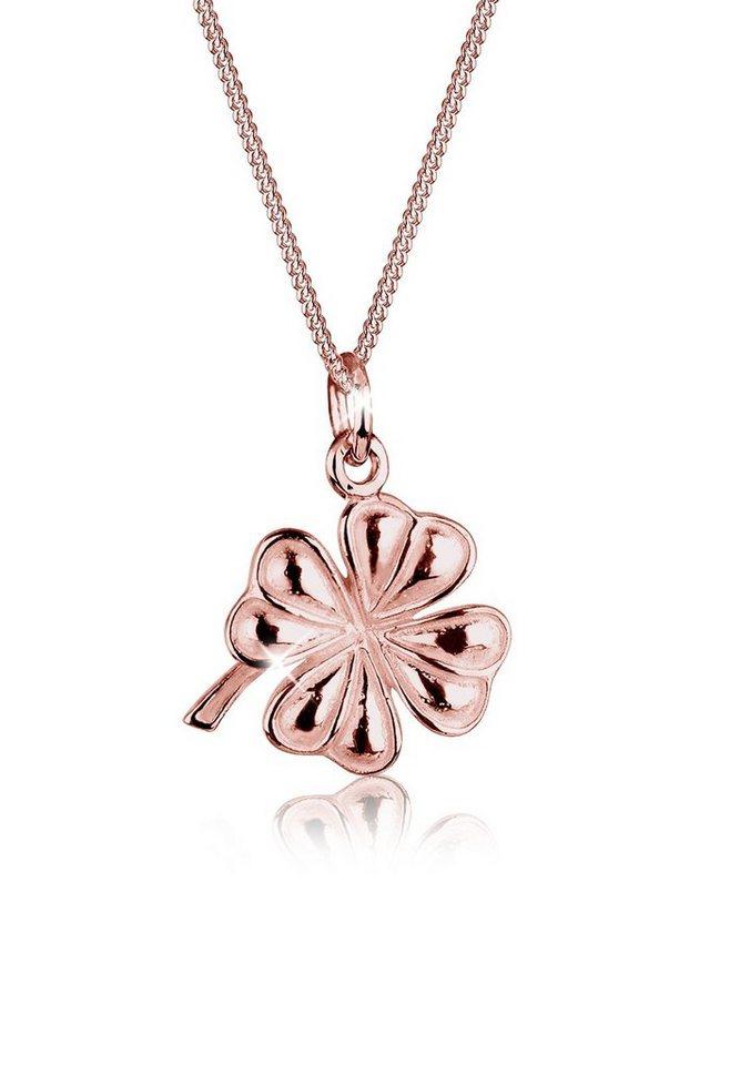 Elli Halskette »Kleeblatt 925 Sterling Silber« in Rosegold