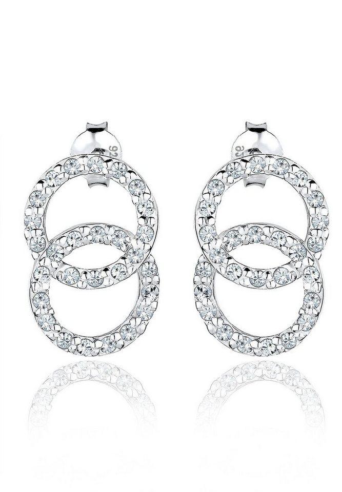 Elli Ohrringe »Kreis Swarovski Kristalle 925 Sterling Silber« in Weiß