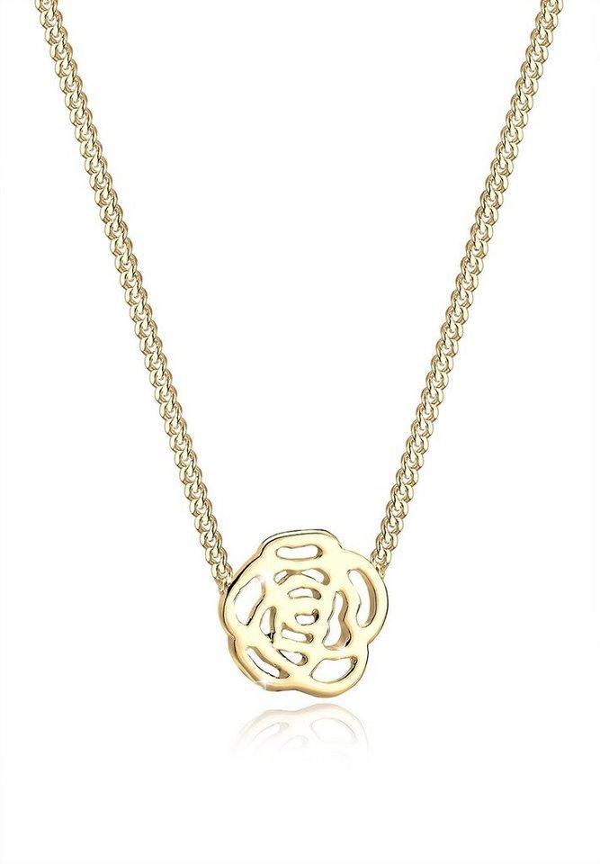 Elli Halskette »Blume Rose Floral 925 Sterling Silber« in Gold