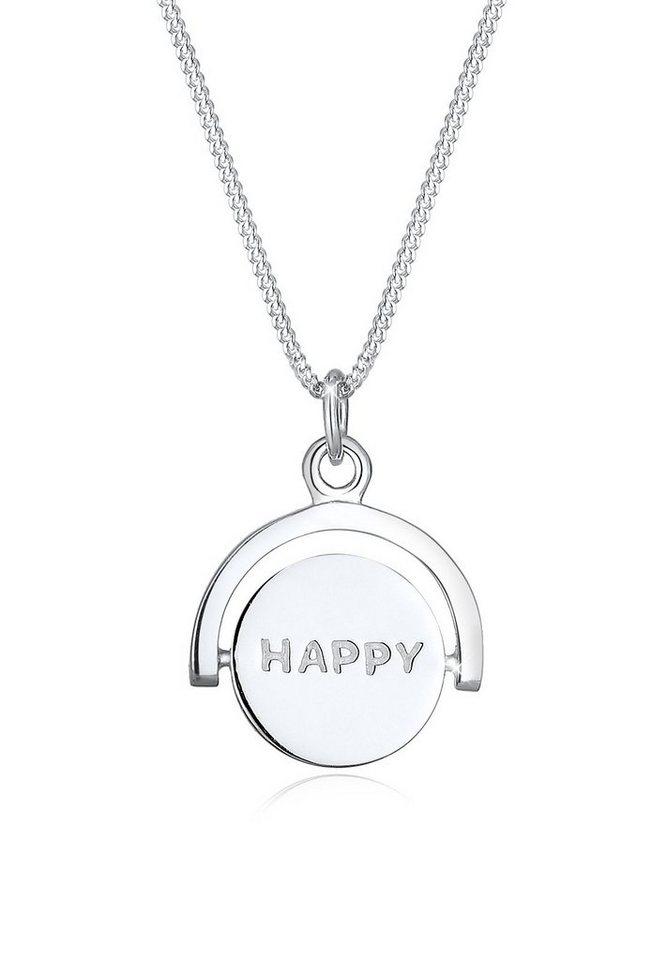 Elli Halskette »Drehscheibe Happy Smiley 925 Sterling Silber« in Silber