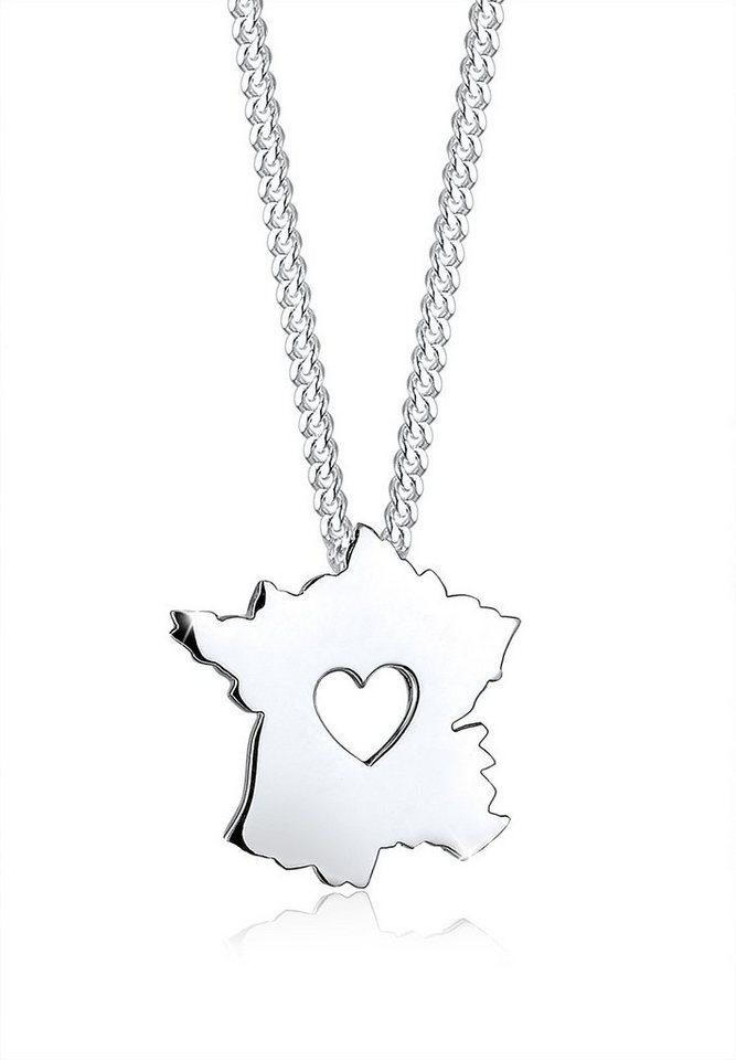 Elli Halskette »Länderumriss Frankreich Herz 925 Sterling Silber« in Silber