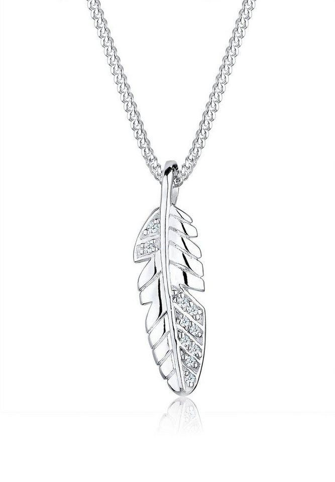 Diamore Halskette »Feder Diamant 925 Sterling Silber« in Silber