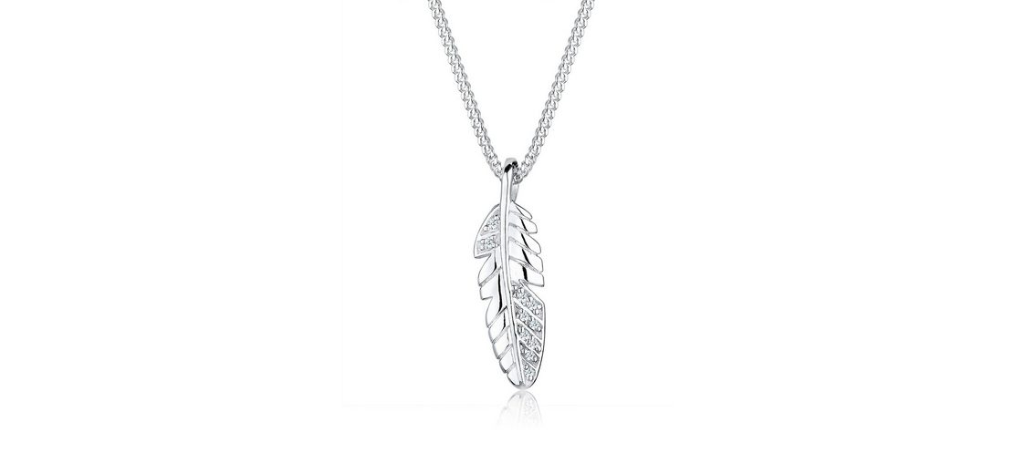 Diamore Halskette »Feder Diamant 925 Sterling Silber«
