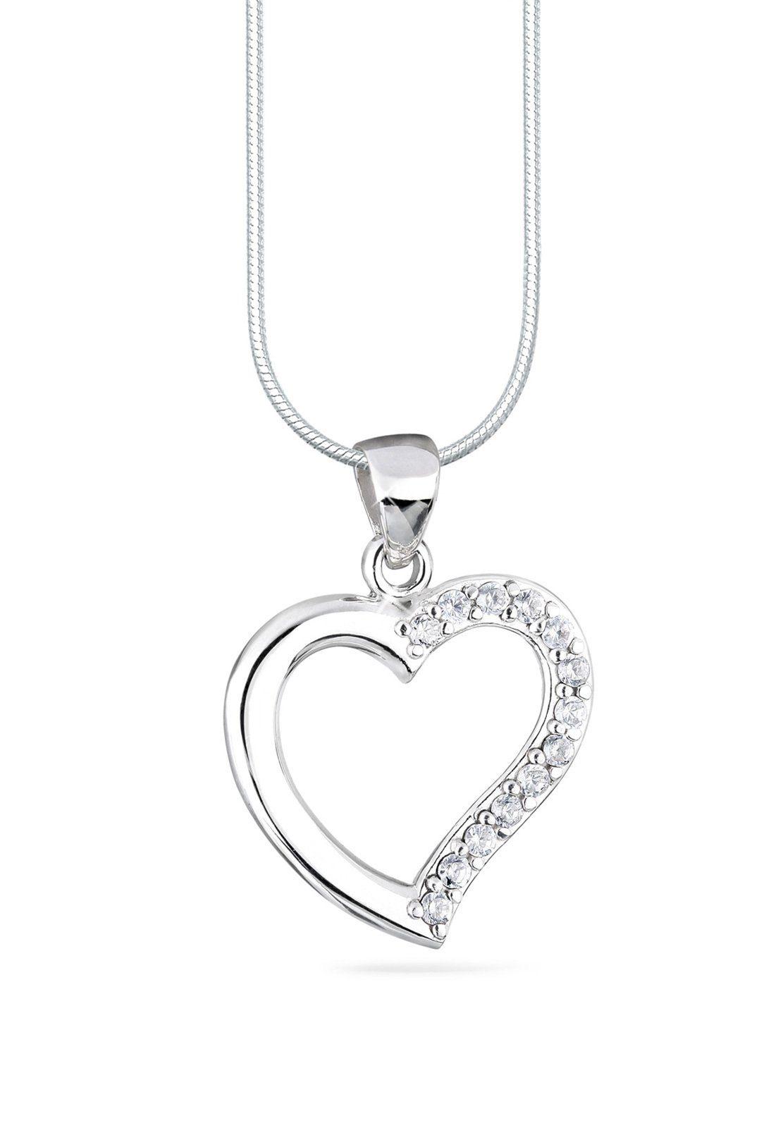 Elli Halskette »Herz Love Zirkonia 925 Sterling Silber«