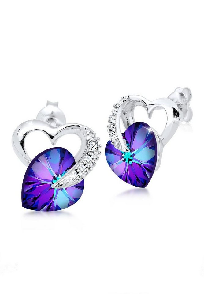 Elli Ohrringe »925 Sterling Silber Herz Swarovski Kristalle« in Violett