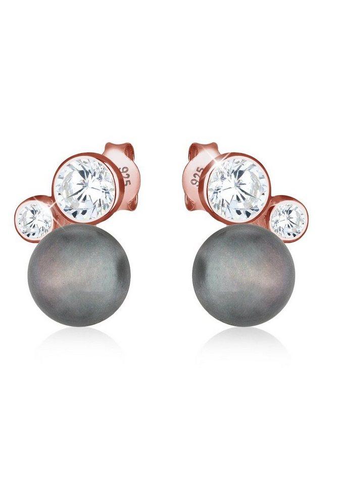 Elli Ohrringe »Süßwasserzuchtperle Zirkonia 925 Silber ROSÉGOLD« in Grau
