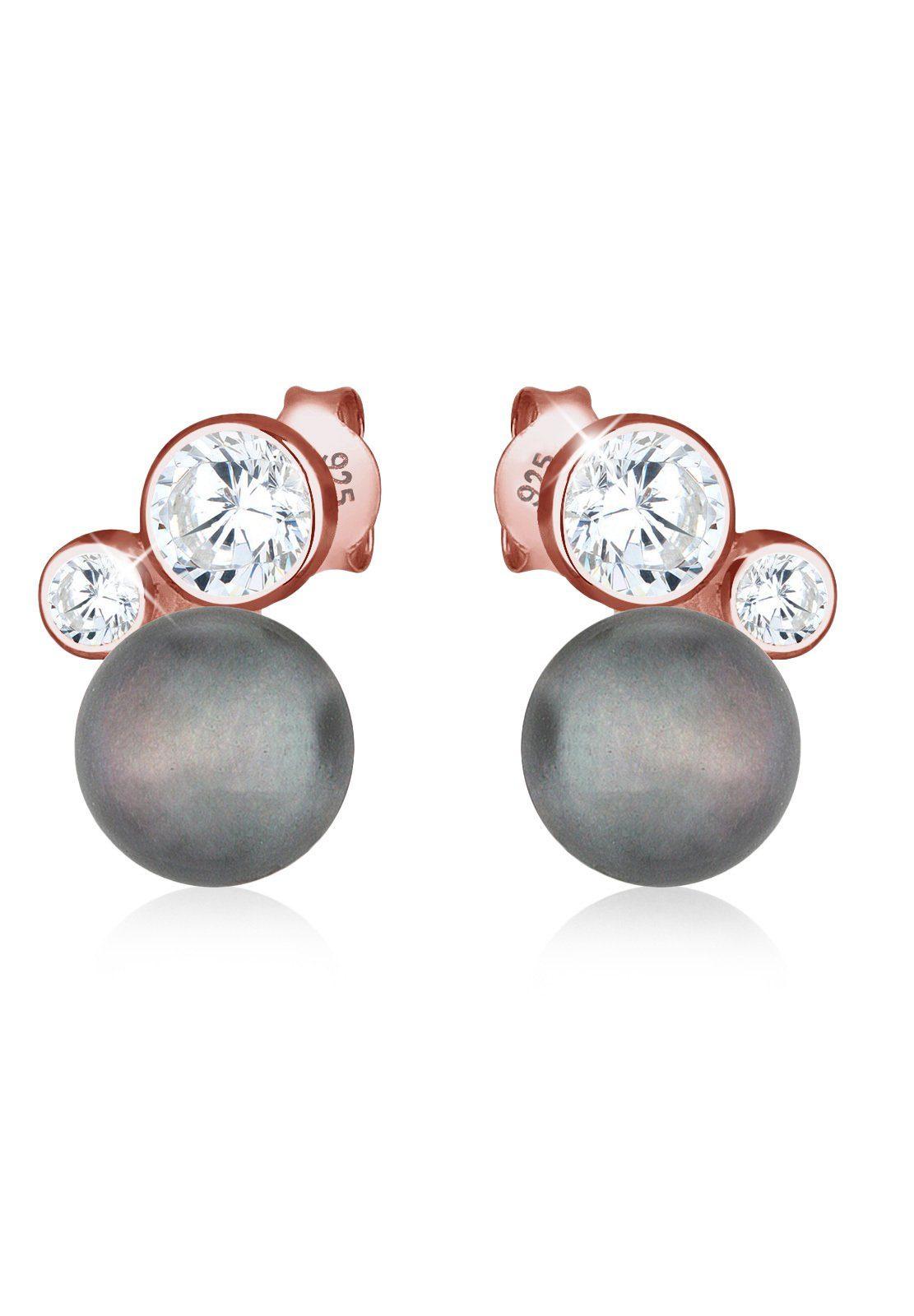 Elli Ohrringe »Süßwasserzuchtperle Zirkonia 925 Silber ROSÉGOLD«