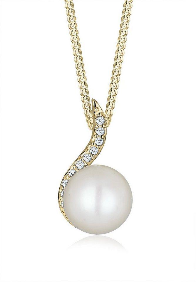 Diamore Halskette »Diamant Süßwasserzuchtperle 585 Gelbgold« in Weiß