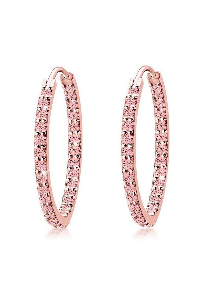 Elli Ohrringe »Creolen Elegant Swarovski® Kristalle rosévergoldet« in Rosa