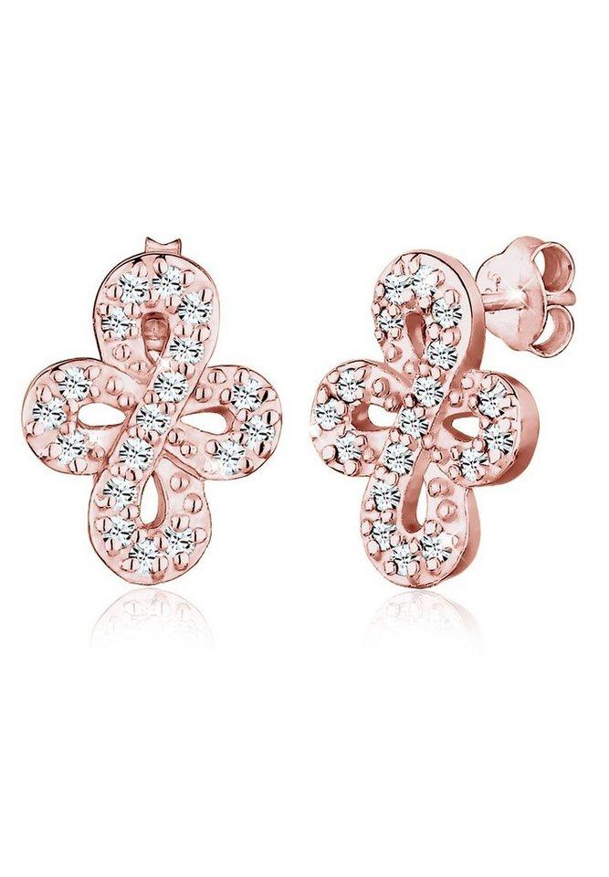 Elli Ohrringe »Infinity Geschenk Swarovski® Kristalle 925 Silber« in Rosegold