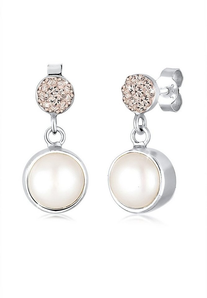 Elli Ohrringe »Süßwasserperle Swarovski Kristalle 925 Silber« in Weiß