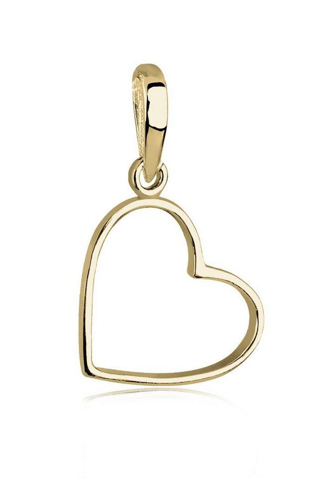 Elli Anhänger »Herz Liebe 375 Gelbgold« in Gold