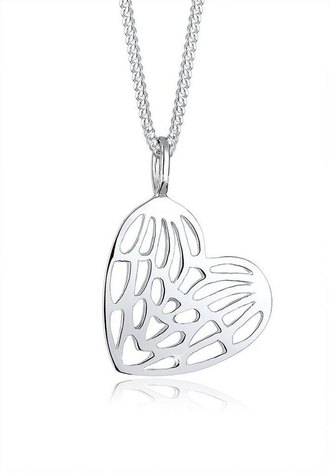 Elli Halskette »Herz Flügel 925 Sterling Silber« in Silber
