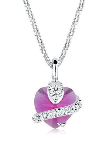 Elli Collierkettchen »Herz Swarovski® Kristalle 925 Silber Adorable«