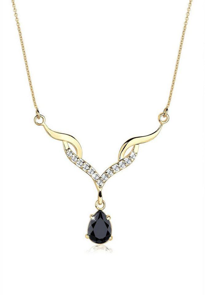 Goldhimmel Halskette »Collier Swarovski® Kristalle 925 Sterling Silber« in Schwarz