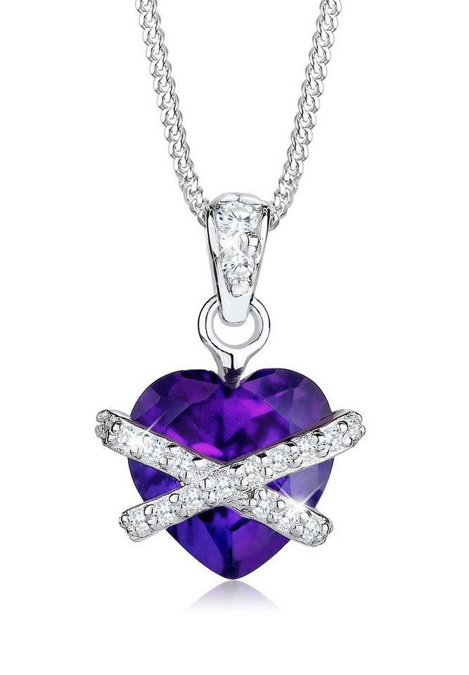 Elli Halskette »Herz Swarovski Kristalle 925 Silber« in Violett