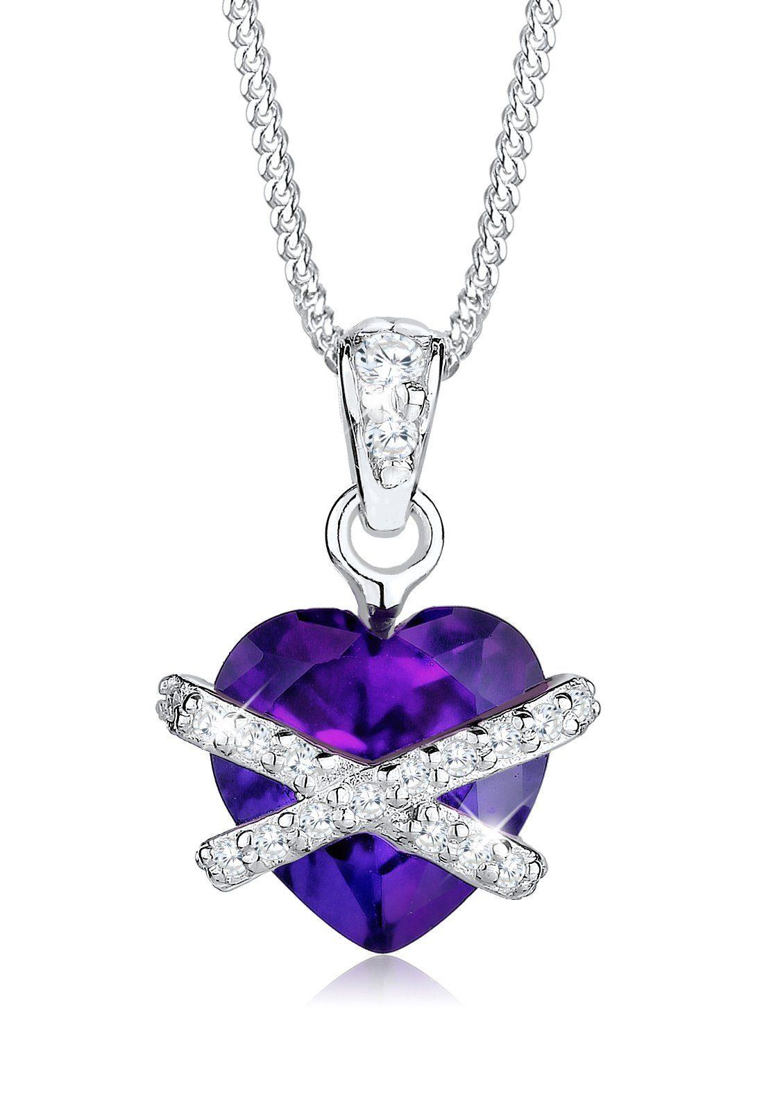 Elli Halskette »Herzen Swarovski Kristalle® 925 Sterling Silber«