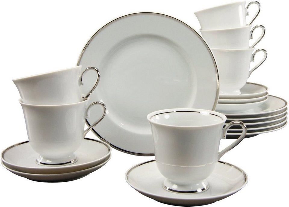 CreaTable Kaffeeservice Porzellan 18tlg. »PLATIN« in weiß/Platinrand