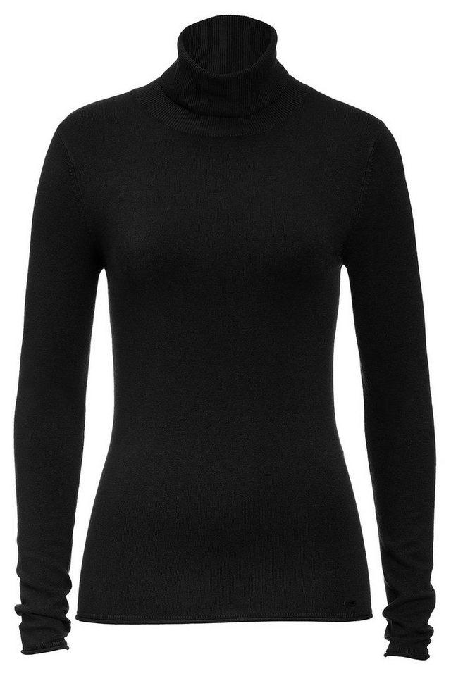 MORE&MORE Basic Rolli, schwarz in schwarz