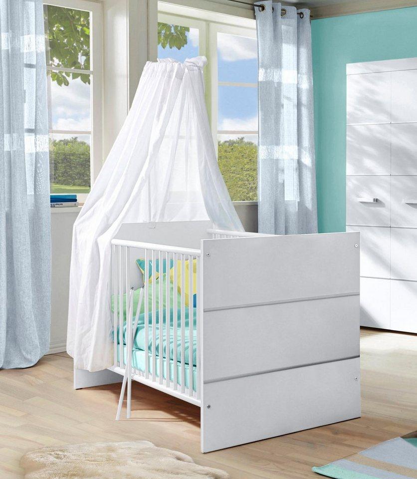 Babybett passend zur Babymöbel Serie »Classic« in weiß in weiß/ silberfarbig