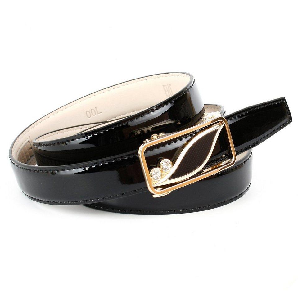 Anthoni Crown Lackledergürtel mit einer Automatik-Schließe in Schwarz