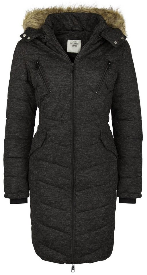 Dry Laundry Mantel mit abnehmbarer Kapuze in schwarz