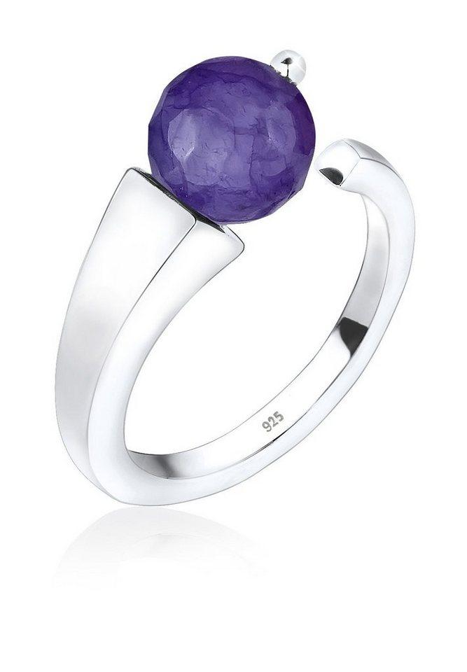 Elli Ring »Edelstein Jade 925 Sterling Silber« in Violett