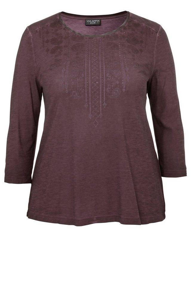 VIA APPIA DUE Baumwoll-Jerseyshirt mit dezent geschmückter Front in AUBERGINE
