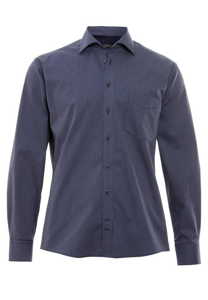 Hatico Essential Hemd Langarm in streifen dunkelblau