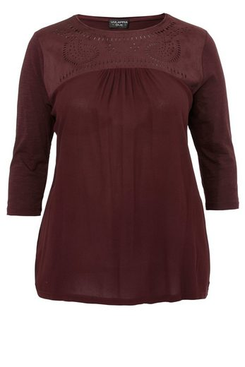 Via Appia Due Cotton-jersey-shirt With Passe In Suede-optics