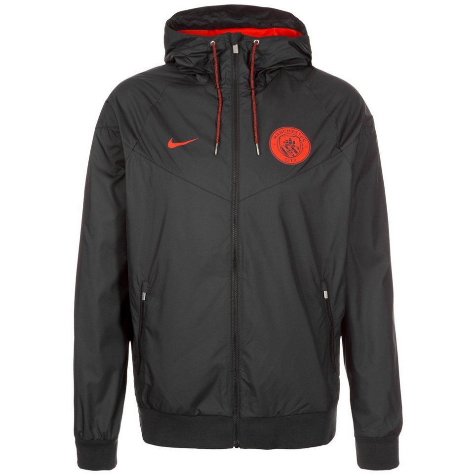NIKE Manchester City Windrunner Kapuzenjacke Herren in schwarz / orange
